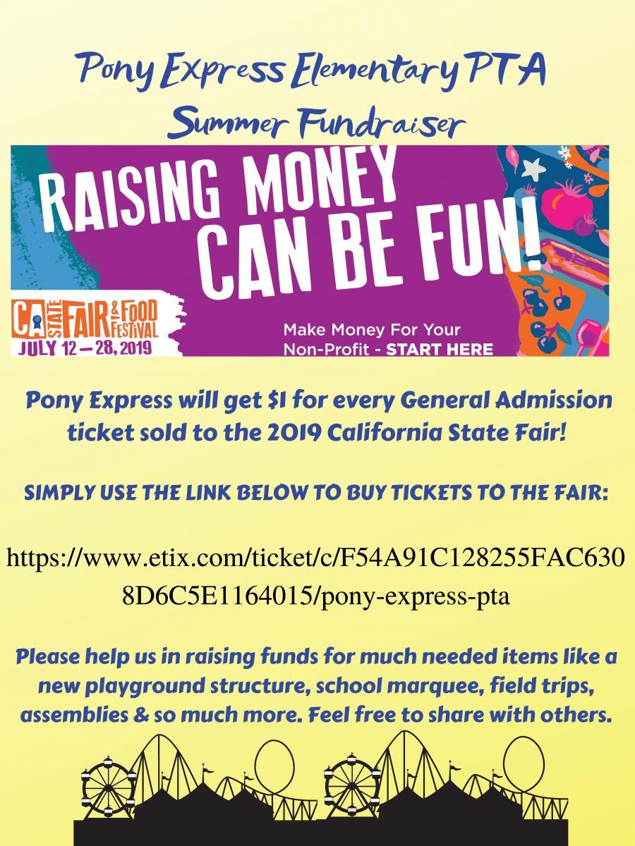 CA State Fair Summer Fundraiser - Pony Express Elementary School
